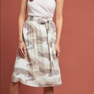 anthropologie // neutral alligator tie waist skirt